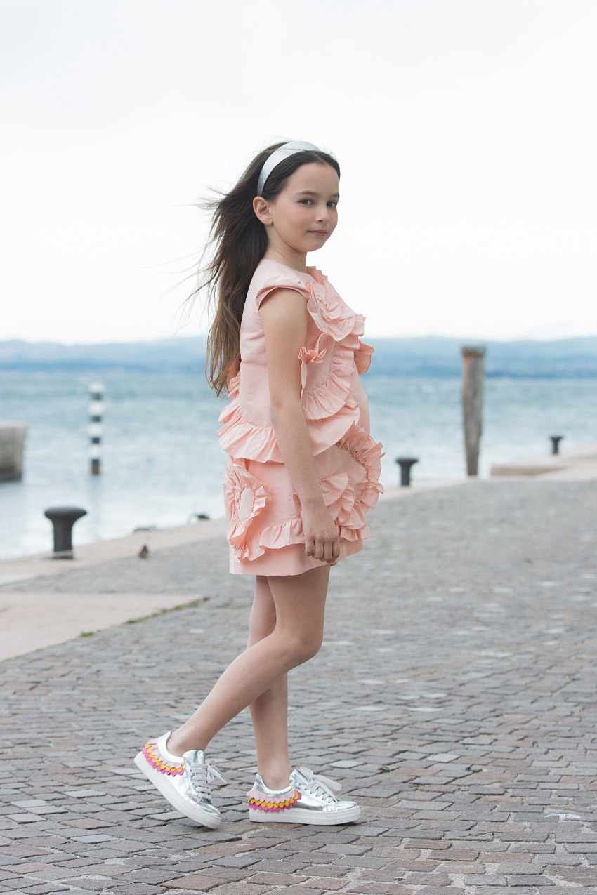 Simonetta pink taffeta dress from ss19 at lake Garda