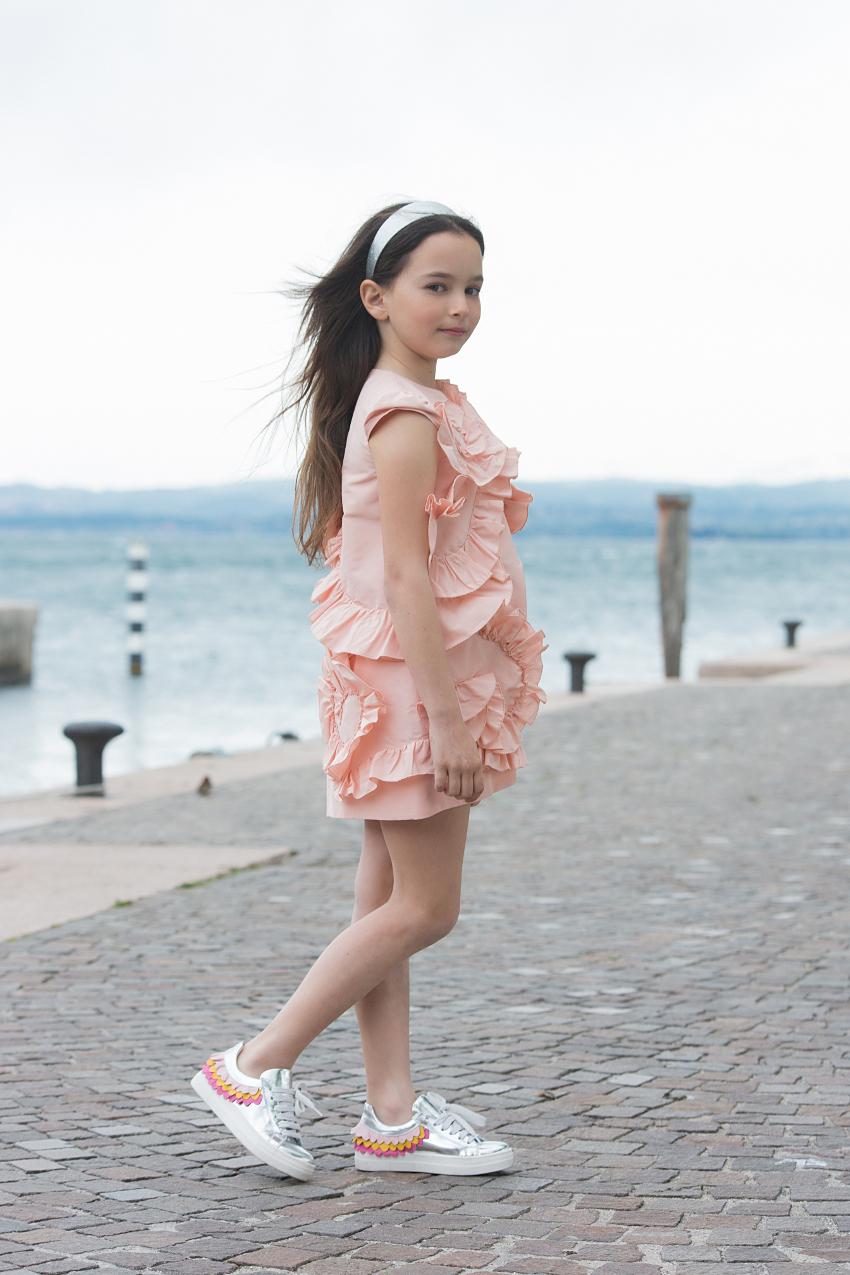 Simonetta pink taffeta dress from ss19 at lake Garda