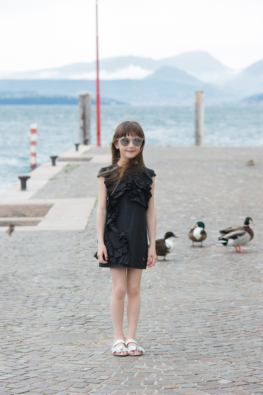 Simonetta black taffeta dress from ss19 at lake Garda