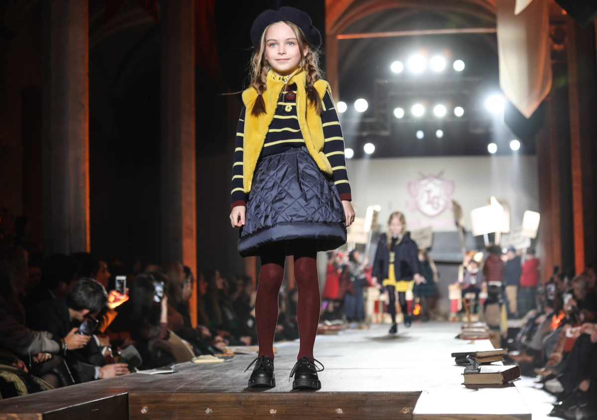 "Girl's striped sweaters with handmade ""puff"" flowers by il gufo fall winter 2020"