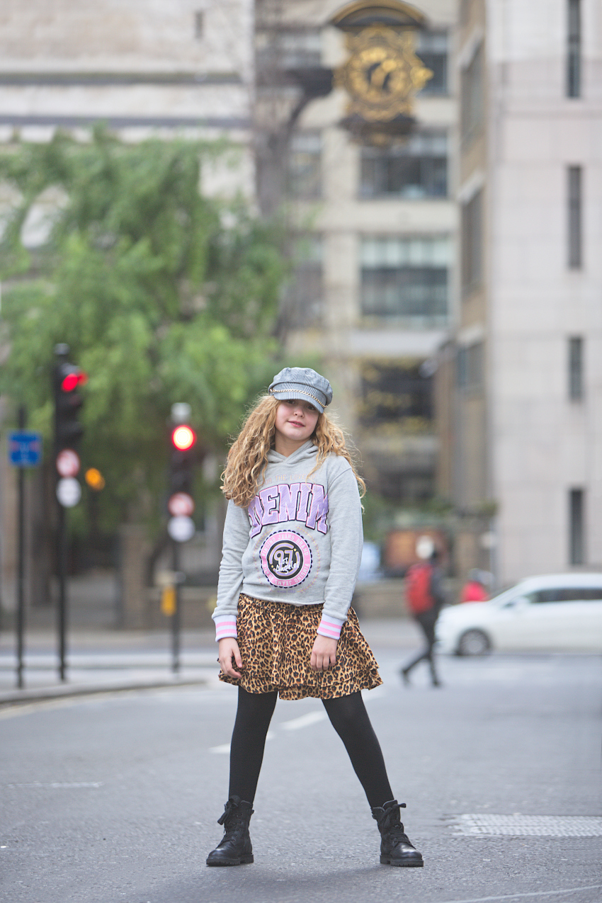 Vingino leopard skirt paired with a gray hodie