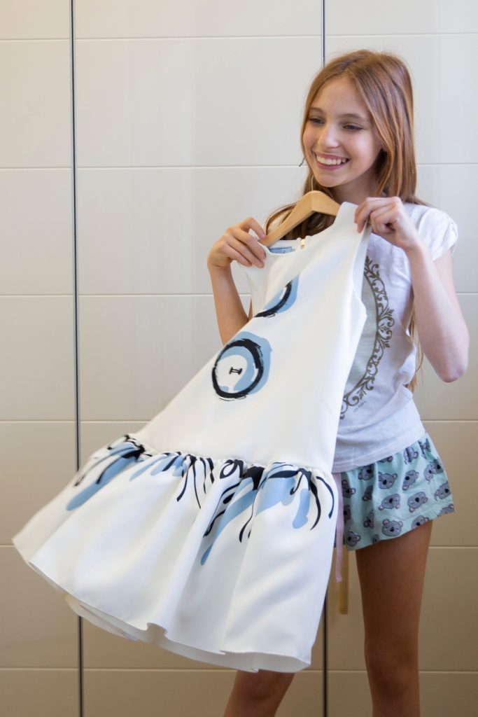 Mimisol white blue bottons dress