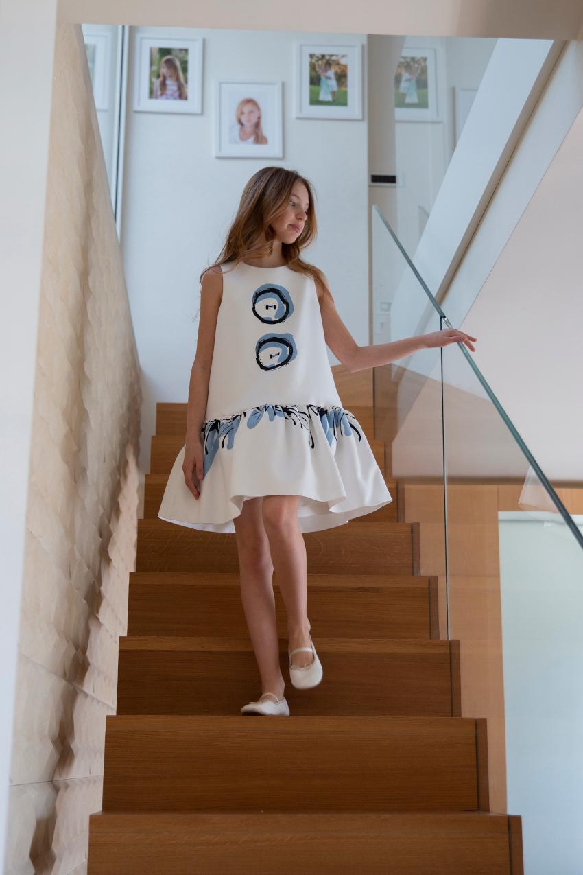 Mimisol white blue bottons dress spring summer 2020