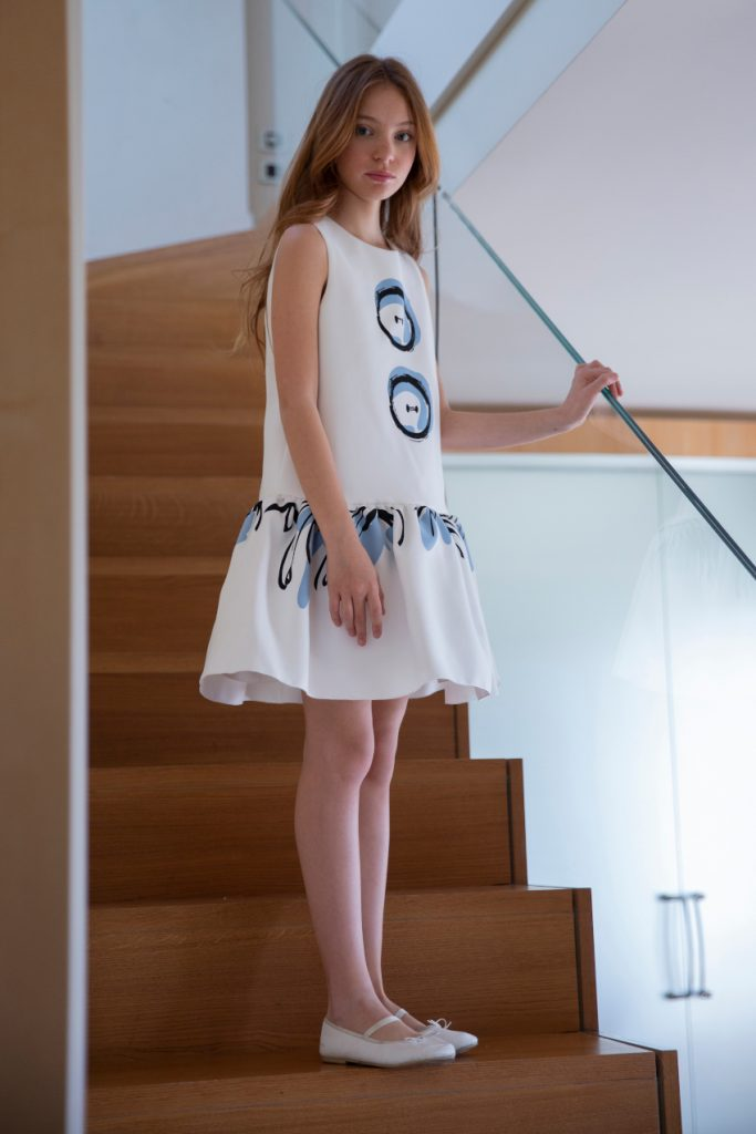 Mimisol white blue bottons dress spring summer 2020