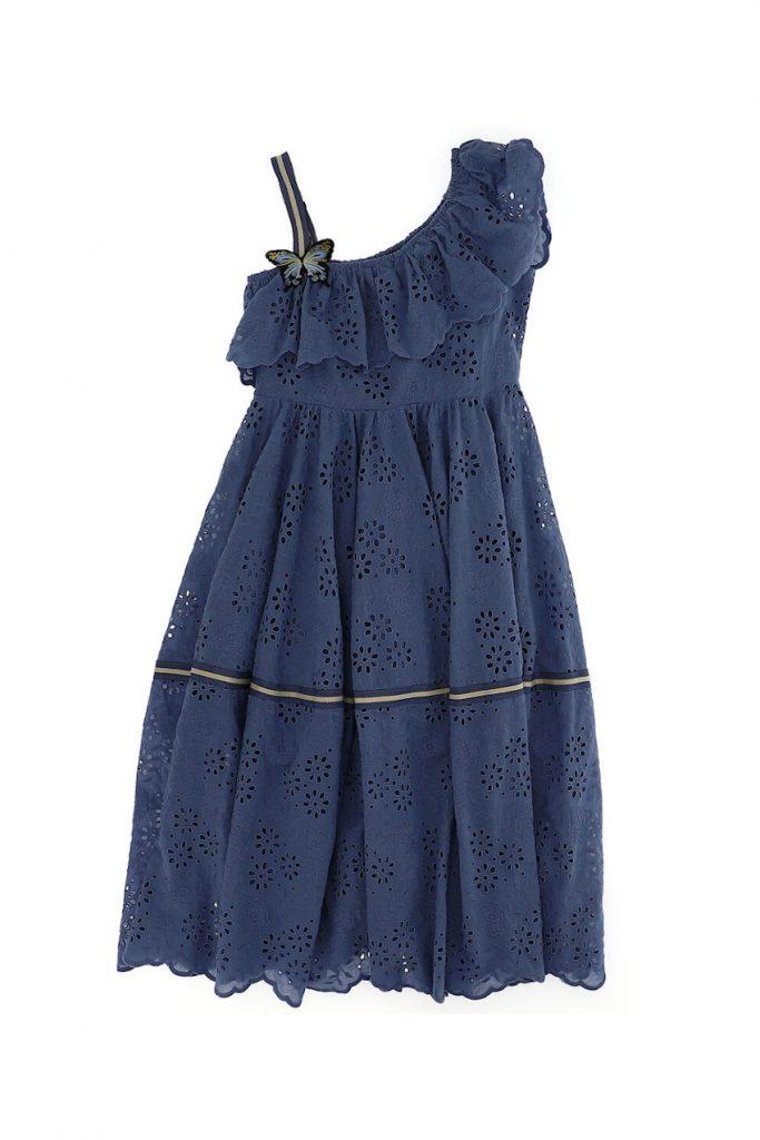 Monnalisa Sangallo Blue dress for Spring Summer 2020