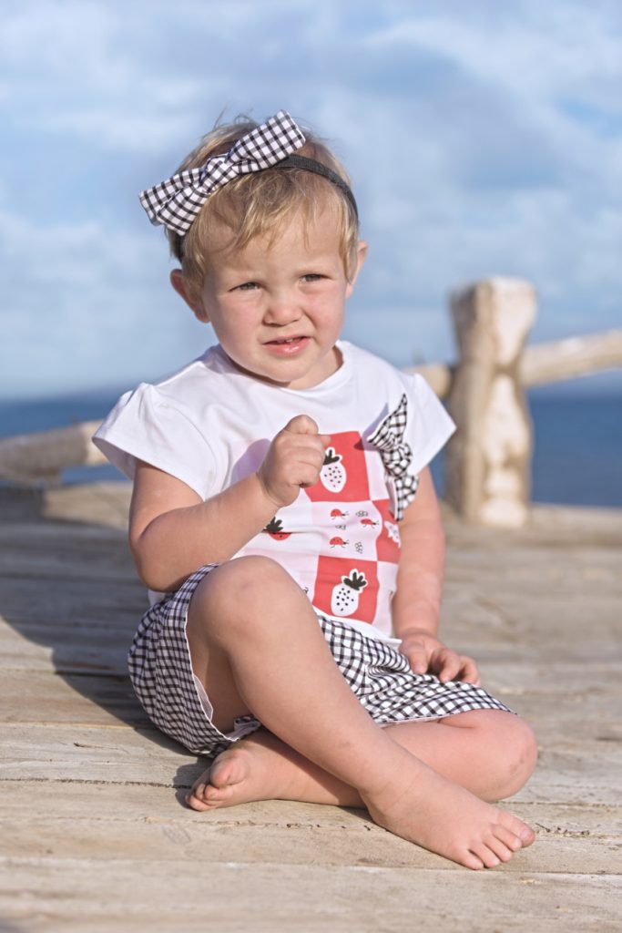 Aurora in Simonetta black and white vichy print SS20
