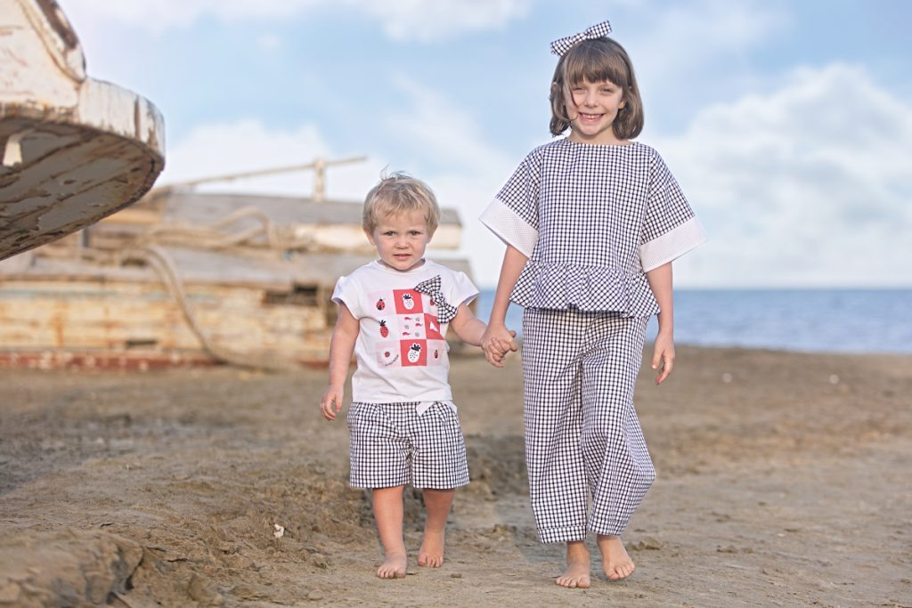 Alice and Aurora in Simonetta black and white vichy print SS20