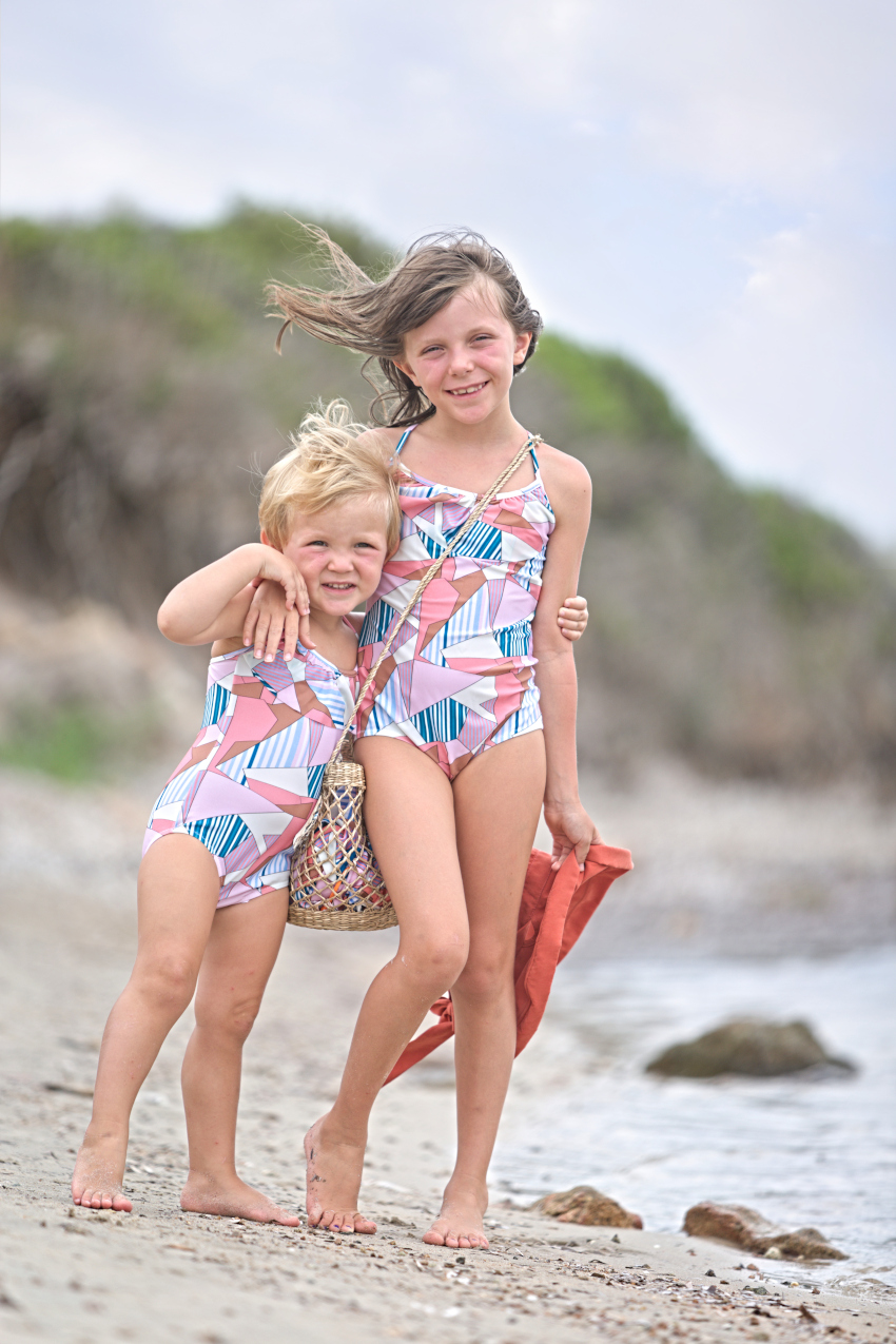 Aurora and Alice at Lu Impostu beach and Aletta swimming suits summer 2020