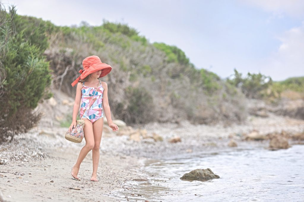 Alice at Lu Impostu beach and Aletta swimming suits summer 2020