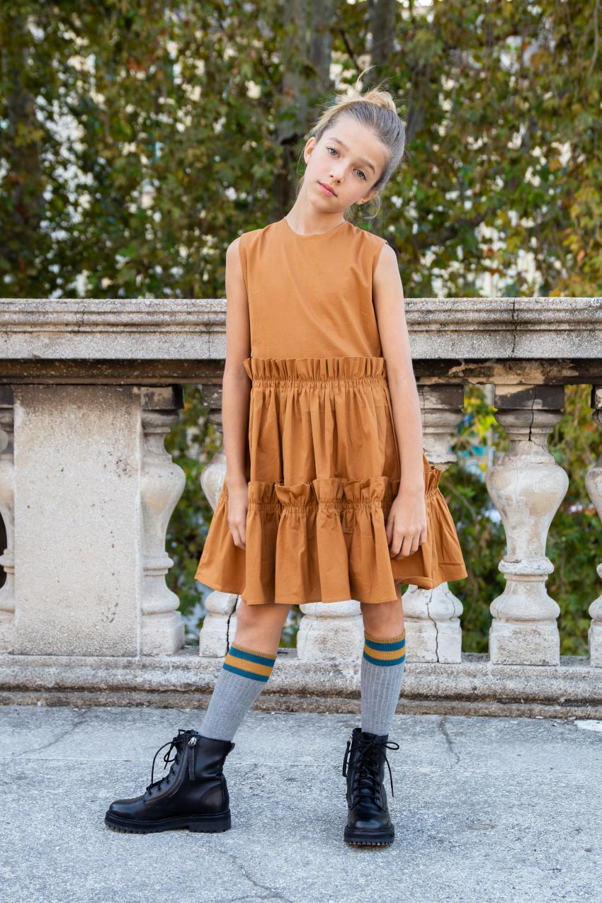 Alitsa golden brown sleeveless dress
