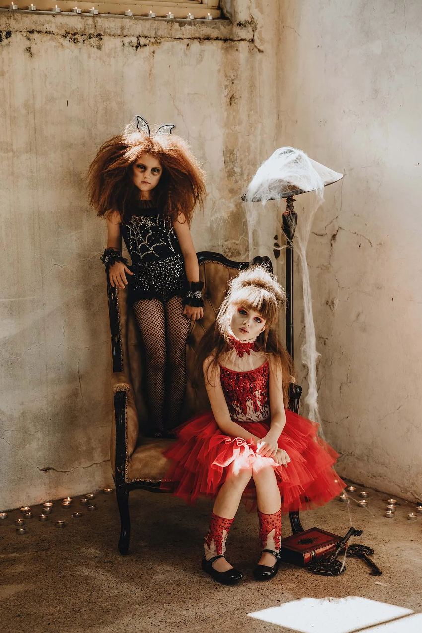 Halloween 2020 tutu du monde capsule collection ruby tutu dress and black web onesie