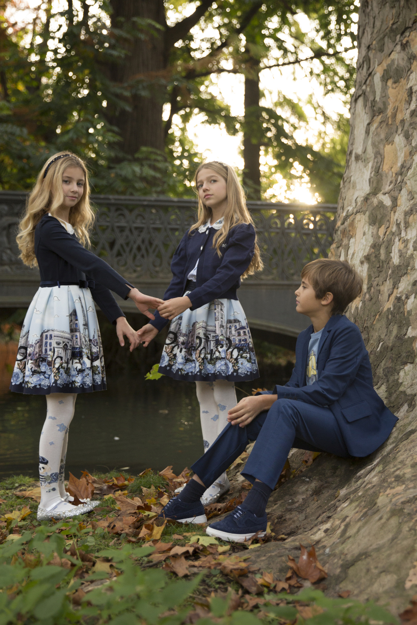 Costanza, Ginevra and Federico in Monnalisa during our kids fashion blog shooting
