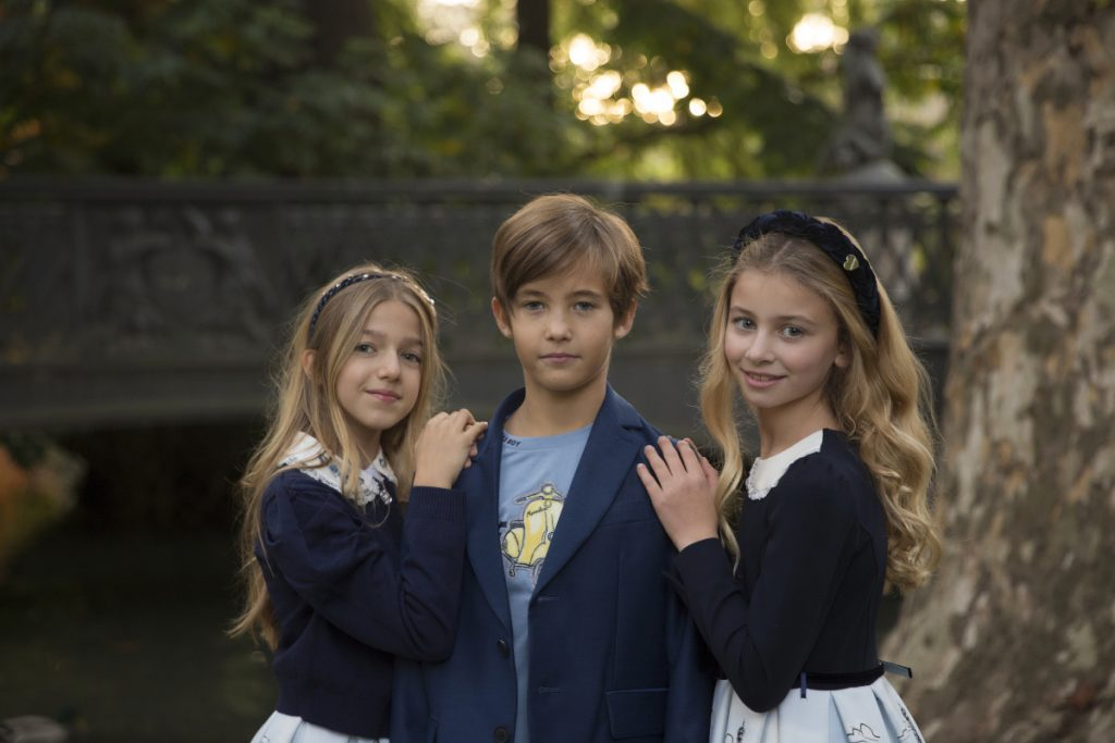 Costanza, Ginevra and Federico in Monnalisa fall winter 2020/2021 during our kids fashion blog shooting