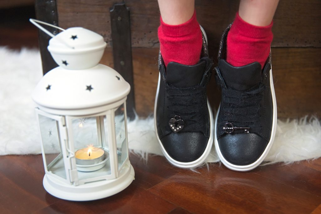 Black sneakers by Morelli made of leather with a heart and a key charm embellished with rhinestones