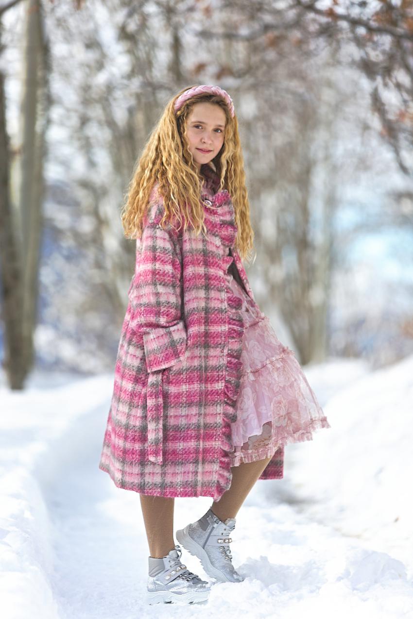Monnalisa Chic pink and grey check coat fall winter 2020/2021