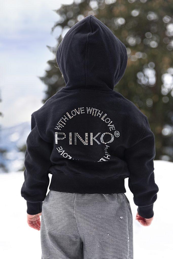 Pinko fall winter 2020/2021 wearing a black hoodie