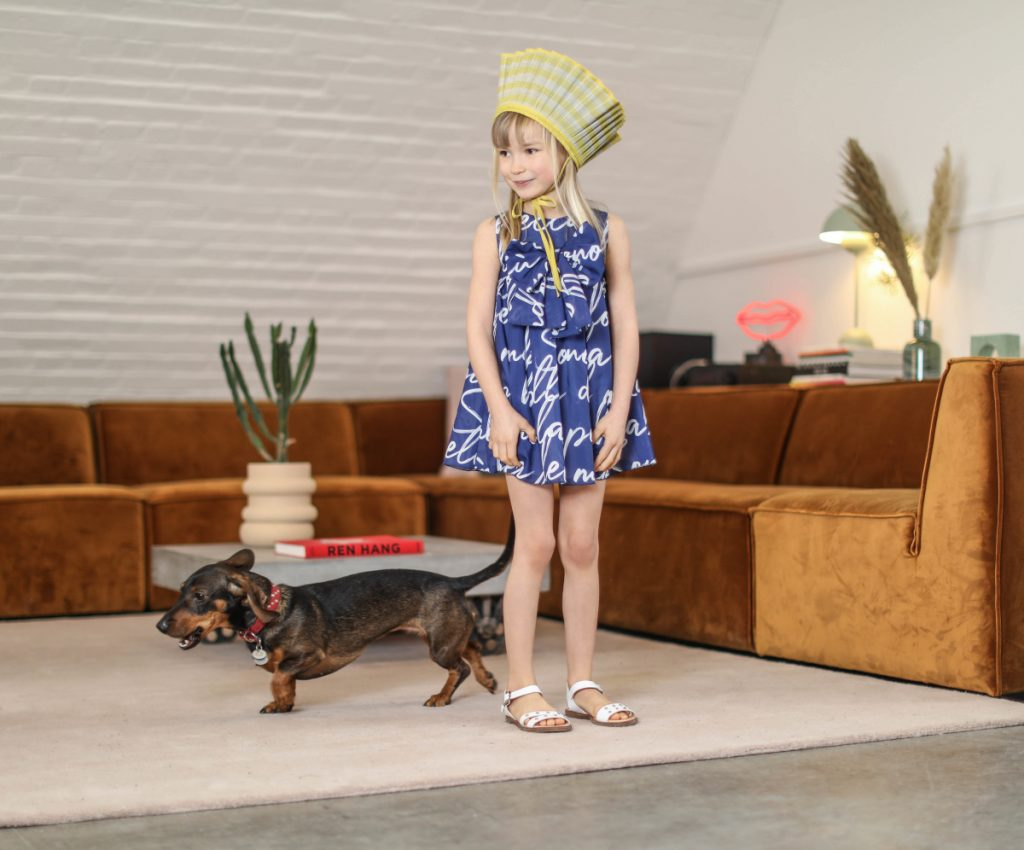 Dianetti shoes spring summer 2021 white sandals for kids Blue and white dress from T-love by Baby Cross