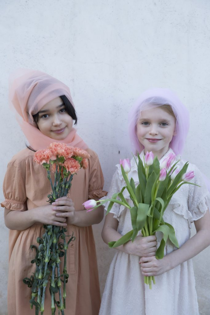 Blossoming Beauty Kids Fashion Editorial. Nicole in Repose AMS while Micol in Alitsa