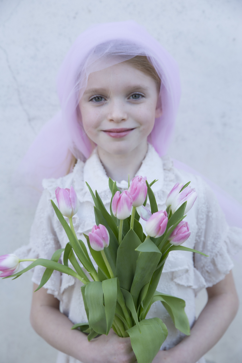 Blossoming Beauty Kids Fashion Editorial. Micol is the pink tulip and wears a dress by Alitsa