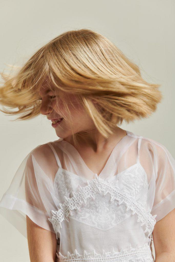 The white story Amelia in Ermanno Scervino Junior spring summer 2021 white dress