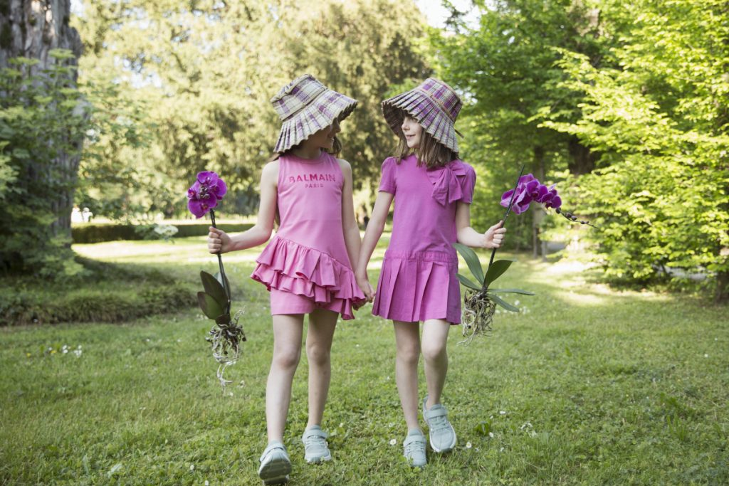 Alice and Giulia with Lorna Murray spring summer 2021 Capri hats for girls