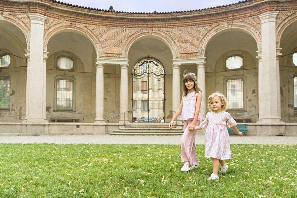Alice and Aurora at the Rotonda Della Besana in Malvi &Co. and Morelli and Walkey shoes