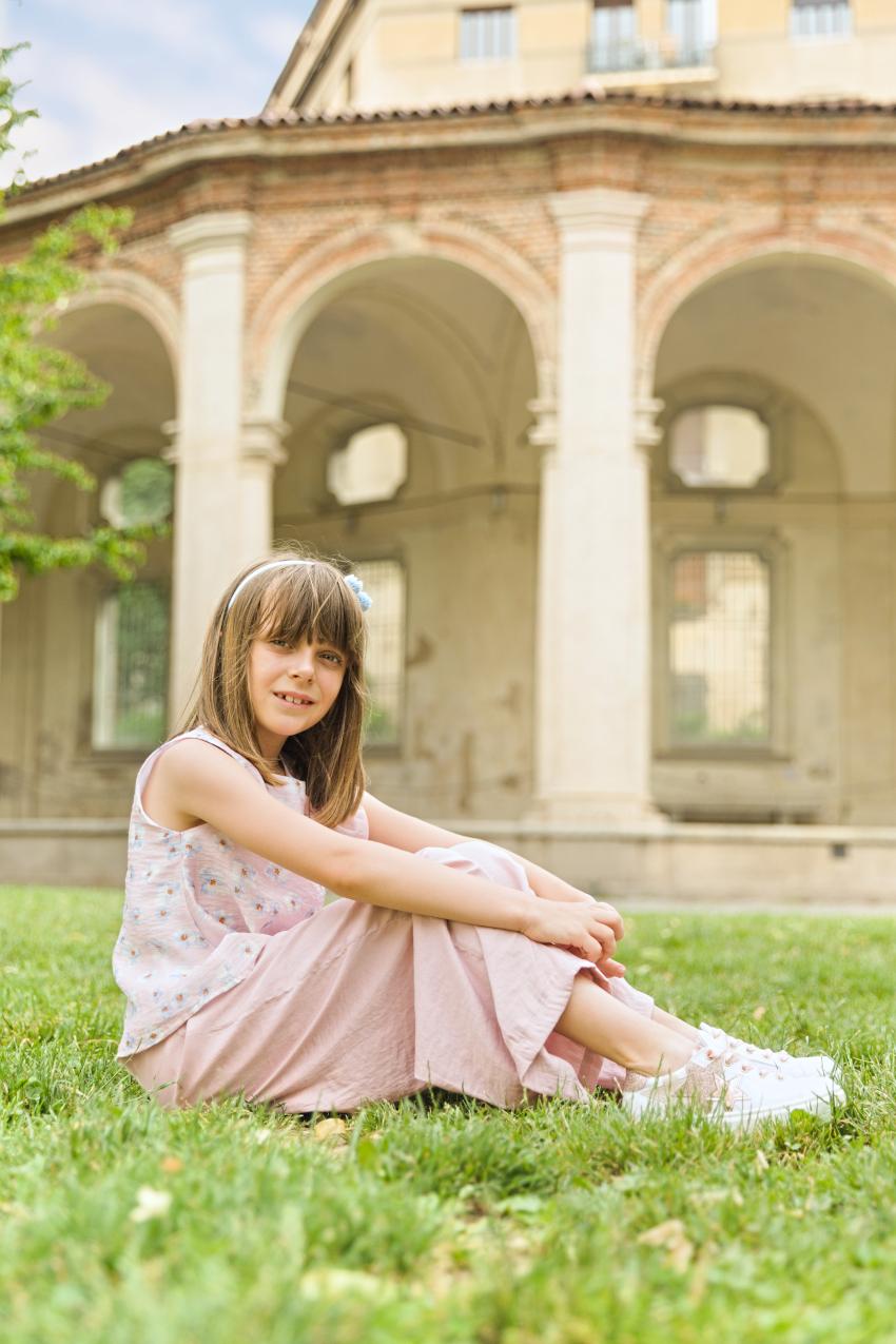 Alice at the Rotonda Della Besana in Malvi &Co. and Morelli shoes